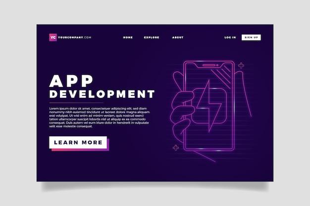 Neon landing page per smartphone