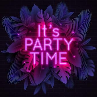 Neon lettering per festa con foglie tropicali