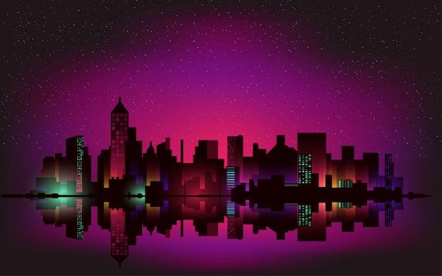 Neon notte sullo sfondo del paesaggio della città