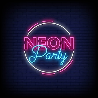 Neon party neon signs style text
