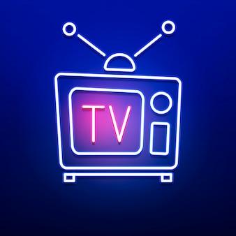 Neon retro tv logo con colore blu rosso sulla parete liscia.