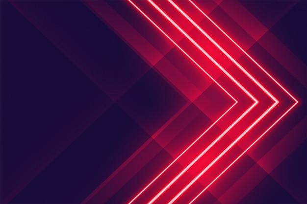 Neon rosso incandescente luci stile freccia sullo sfondo