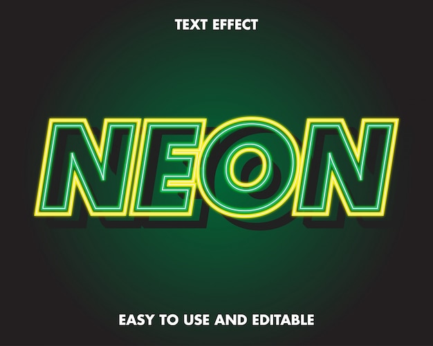Neon text effect. facile da usare e modificabile
