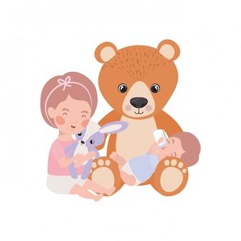 Neonato e ragazza isolati