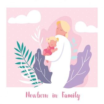 Neonato nella scheda della famiglia con il papà e la piccola figlia bambino