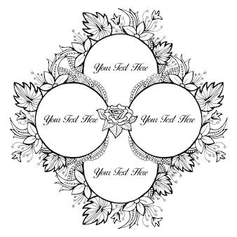 Nero e bianco bella mano disegnata cornice floreale