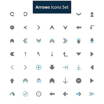 Nero e grigio freccia set di icone
