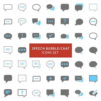 Nero e grigio speech bubble icons set