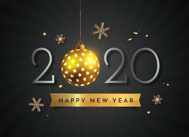 Nero e oro nuovo anno 2020 con decorazioni a sfera