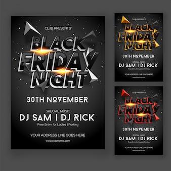 Nero friday night party poster o flyer design in tre opzioni a colori difformi.