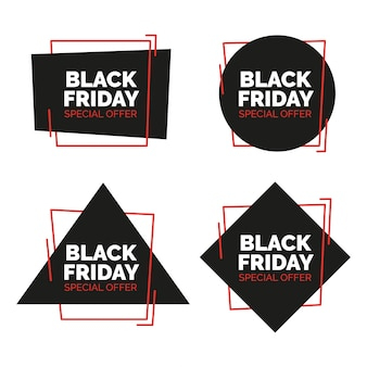 Nero venerdì vendita banner impostato. illustrazione vettoriale.