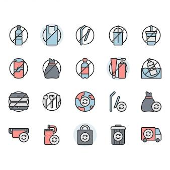 Nessun concetto di plastica correlato icona e set di simboli