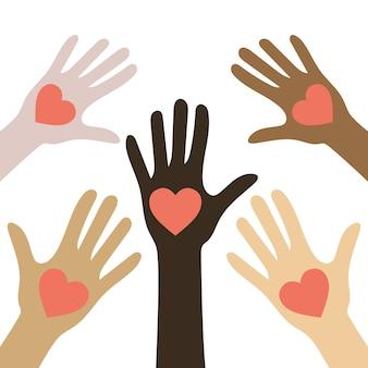 Nessun concetto di razzismo. pelle di colore diverso. mani umane con cuori. le vite nere contano.