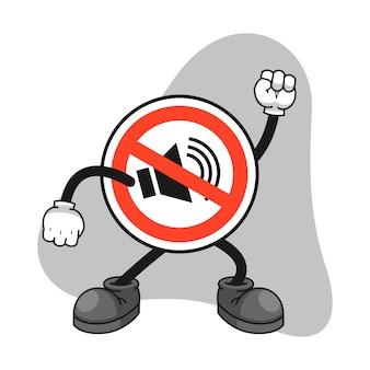 Nessun personaggio dei cartoni animati del segno del suono con un gesto arrabbiato