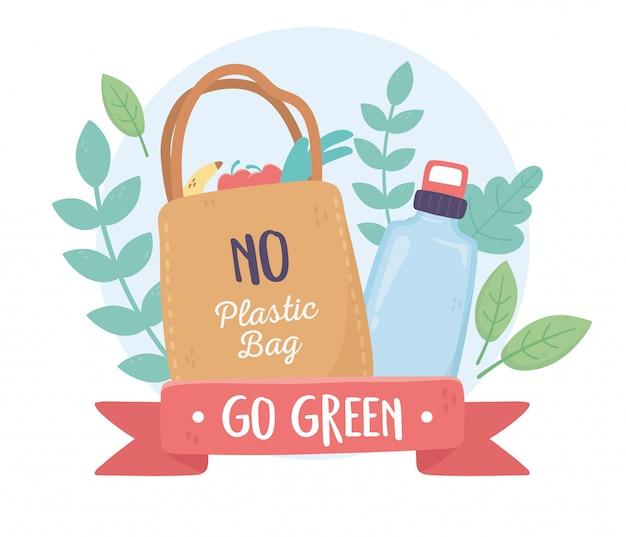 Nessun sacchetto di plastica e ecologia ambientale del fogliame delle bottiglie