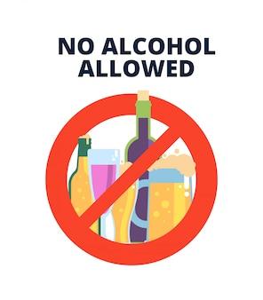 Nessun segno di alcol. bevande alcoliche, birra in rosso simbolo di divieto.