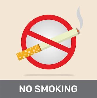 Nessun segno di fumare con la sigaretta.