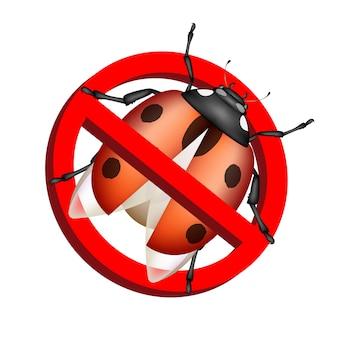 Nessun vettore del segno di proibizione di insetto su fondo bianco