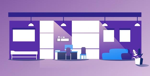 Nessuno svuoti l'ufficio moderno interno della clinica della stanza di ospedale con l'illustrazione di vettore della mobilia