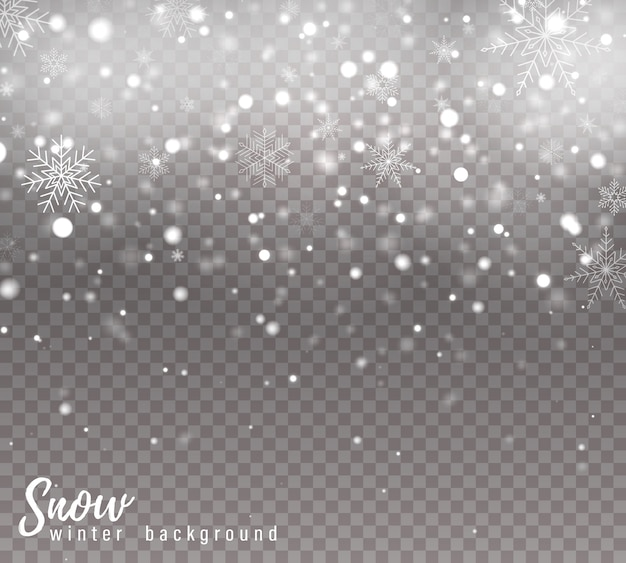 Neve che cade di natale, fiocchi di neve, forti nevicate.