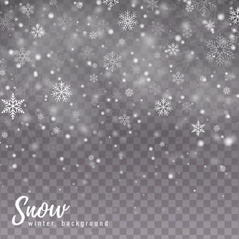 Neve che cade. fiocchi di neve, forti nevicate