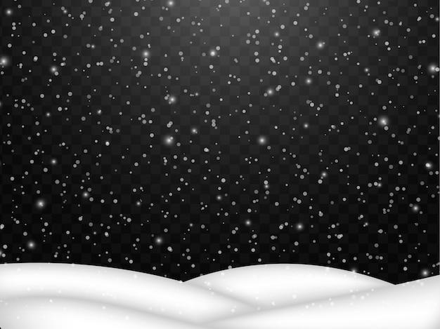 Neve che cade. fiocco di neve astratta caduta di neve con cumulo di neve