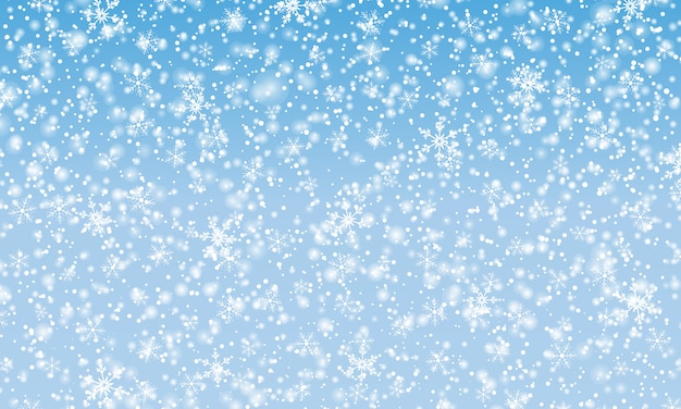 Neve che cade. illustrazione. fiocchi di neve bianchi. cielo blu invernale. texture di natale. sfondo di caduta di neve.