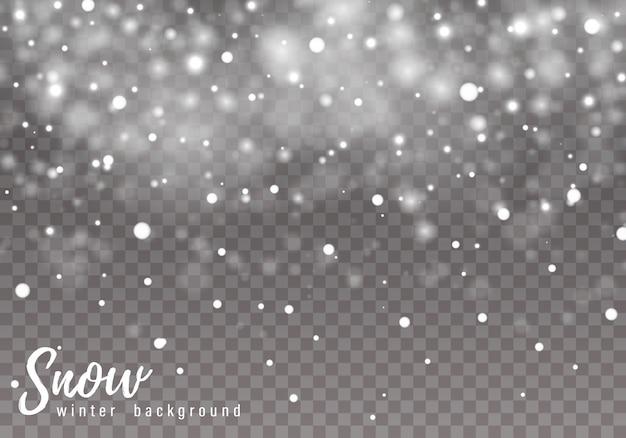 Neve che cade sullo sfondo