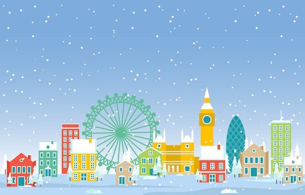 Neve di inverno nell'illustrazione della costruzione del punto di riferimento dell'orizzonte di paesaggio urbano della città di londra
