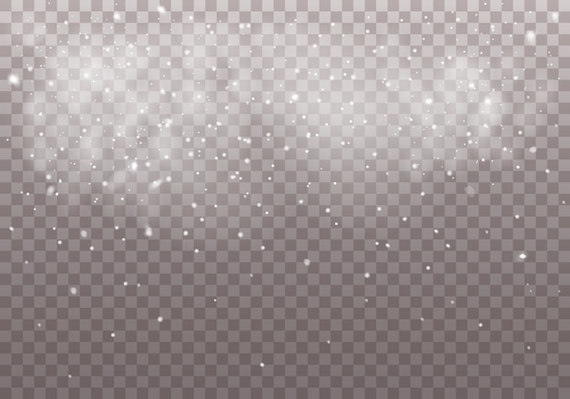 Neve di natale che cade su trasparente