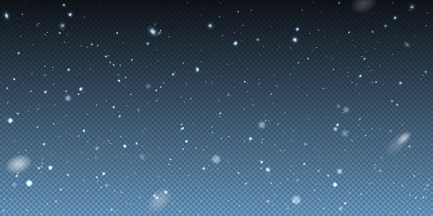 Neve realistica di natale di caduta di inverno su fondo trasparente. luci di bokeh e fiocchi di neve volanti nell'aria. sovrapposizione di trama di bufera di neve invernale. forti nevicate, fiocchi di neve
