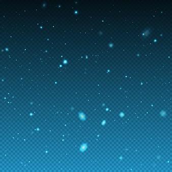 Neve realistica di natale di inverno di caduta. luci di bokeh e fiocchi di neve volanti nell'aria. sovrapposizione di trama di bufera di neve invernale. forti nevicate, fiocchi di neve