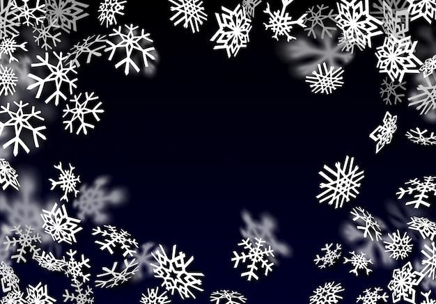 Nevicata sfondo. neve che cade trasparente con grandi fiocchi di neve