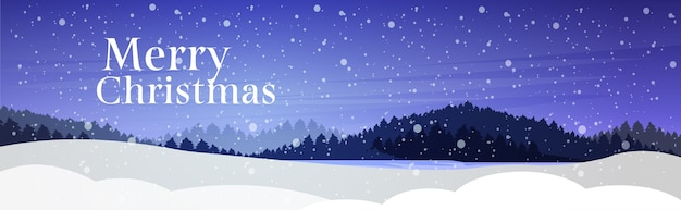Nevicate della foresta di pini di notte, cartolina d'auguri di concetto di celebrazione di festa di buon natale