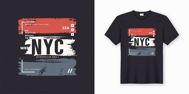 New york city elegante t-shirt e abbigliamento poster astratto.