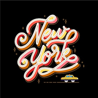 New york city lettering sullo sfondo