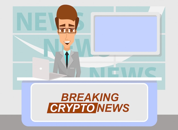 News anchor che trasmette le ultime importanti notizie cripto dallo studio televisivo.
