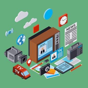 Newscast, informazione, radiodiffusione, giornalismo, mass media illustrazione 3d isometrica piana. concetto di infografica moderna web