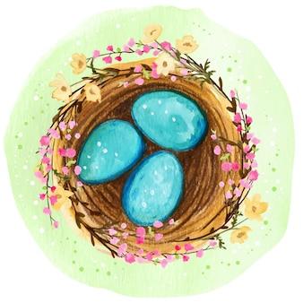 Nido primaverile dell'acquerello con uova blu e fiori che sbocciano