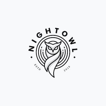 Nigh owl line art design concept