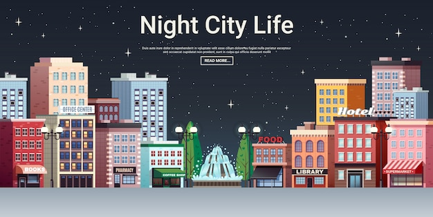 Night city life town centre