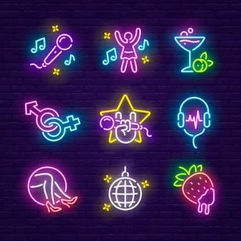 Night club, discoteca e karaoke insegna al neon