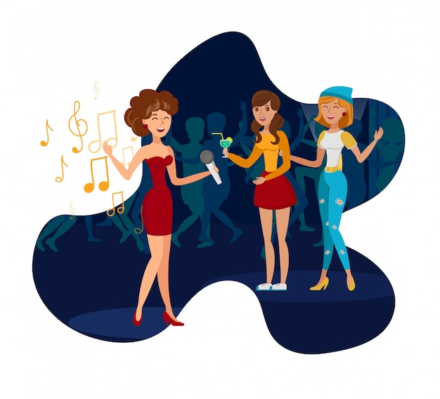 Night club party, concert flat vector illustration
