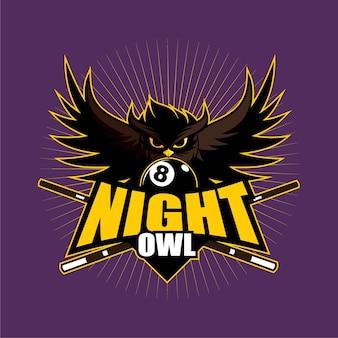 Night owl billiard club logo design