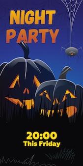 Night party questo lettering del venerdì. jack o lanterne in erba