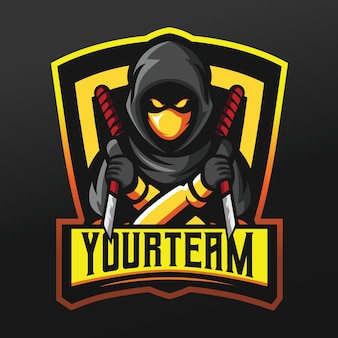 Ninja assassin with knife mascot sport illustration per logo esport gaming team squad