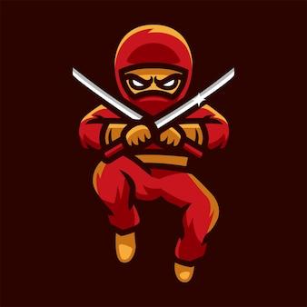 Ninja che salta il logo di esports