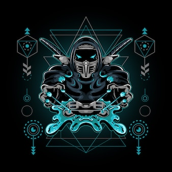 Ninja esport mascotte gioco geometria sacra illustrazione