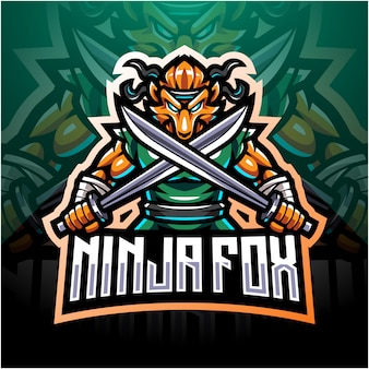 Ninja fox esport mascotte logo design