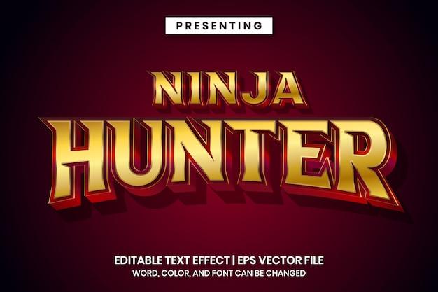 Ninja hunter - effetto testo modificabile in metallo rosso oro